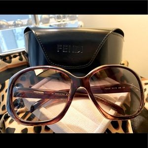 Fendi Brown and Red Sunglasses